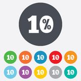 10 percent discount sign icon. Sale symbol. Special offer label. Round colourful 11 buttons Stock Photo