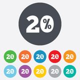 20 percent discount sign icon. Sale symbol. Special offer label. Round colourful 11 buttons stock illustration