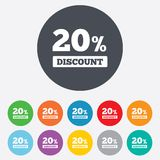20 percent discount sign icon. Sale symbol. Special offer label. Round colourful 11 buttons royalty free illustration