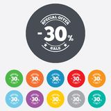 30 percent discount sign icon. Sale symbol. Special offer label. Round colourful 11 buttons Royalty Free Stock Photos