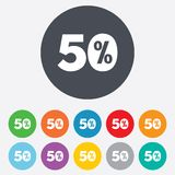 50 percent discount sign icon. Sale symbol. Special offer label. Round colourful 11 buttons Royalty Free Stock Images