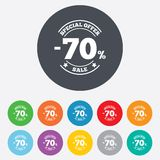 70 percent discount sign icon. Sale symbol. Special offer label. Round colourful 11 buttons Stock Photo
