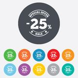 25 percent discount sign icon. Sale symbol. Royalty Free Stock Photo
