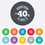40 percent discount sign icon. Sale symbol. Special offer label. Round colourful 11 buttons stock illustration