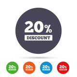 20 percent discount sign icon. Sale symbol. Special offer label. Round colourful buttons with flat icons. Vector royalty free illustration