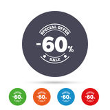 60 percent discount sign icon. Sale symbol. Special offer label. Round colourful buttons with flat icons. Vector Royalty Free Stock Images