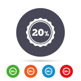 20 percent discount sign icon. Sale symbol. Special offer label. Round colourful buttons with flat icons. Vector stock illustration