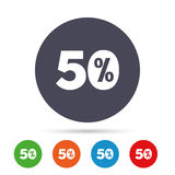 50 percent discount sign icon. Sale symbol. Special offer label. Round colourful buttons with flat icons. Vector Stock Photography