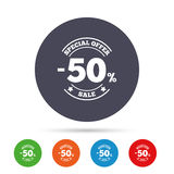 50 percent discount sign icon. Sale symbol. Special offer label. Round colourful buttons with flat icons. Vector Vector Illustration