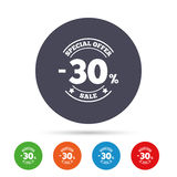30 percent discount sign icon. Sale symbol. Special offer label. Round colourful buttons with flat icons. Vector Royalty Free Stock Images