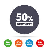 50 percent discount sign icon. Sale symbol. Stock Image