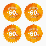 60 percent discount sign icon. Sale symbol. Special offer label. Triangular low poly buttons with flat icon. Vector Royalty Free Stock Images