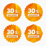 30 percent discount sign icon. Sale symbol. Special offer label. Triangular low poly buttons with flat icon. Vector Royalty Free Stock Image