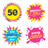 50 percent discount sign icon. Sale symbol. Sale splash banner, special offer star. 50 percent discount sign icon. Sale symbol. Special offer label. Shopping Royalty Free Stock Images