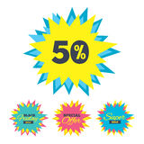 50 percent discount sign icon. Sale symbol. Sale stickers and banners. 50 percent discount sign icon. Sale symbol. Special offer label. Star labels. Vector Royalty Free Stock Photography