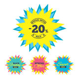 20 percent discount sign icon. Sale symbol. Sale stickers and banners. 20 percent discount sign icon. Sale symbol. Special offer label. Star labels. Vector stock illustration