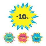 10 percent discount sign icon. Sale symbol. Sale stickers and banners. 10 percent discount sign icon. Sale symbol. Special offer label. Star labels. Vector stock illustration