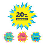 20 percent discount sign icon. Sale symbol. Sale stickers and banners. 20 percent discount sign icon. Sale symbol. Special offer label. Star labels. Vector royalty free illustration