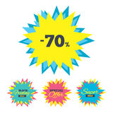 70 percent discount sign icon. Sale symbol. Stock Images