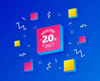 20 percent discount sign icon. Sale symbol. Vector. 20 percent discount sign icon. Sale symbol. Special offer label. Isometric cubes with geometric shapes royalty free illustration