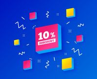 10 percent discount sign icon. Sale symbol. Vector. 10 percent discount sign icon. Sale symbol. Special offer label. Isometric cubes with geometric shapes royalty free illustration