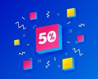 50 percent discount sign icon. Sale symbol. Vector. 50 percent discount sign icon. Sale symbol. Special offer label. Isometric cubes with geometric shapes stock illustration