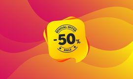50 percent discount sign icon. Sale symbol. Vector. 50 percent discount sign icon. Sale symbol. Special offer label. Wave background. Abstract shopping sale royalty free illustration