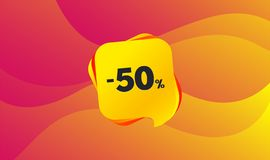 50 percent discount sign icon. Sale symbol. Vector. 50 percent discount sign icon. Sale symbol. Special offer label. Wave background. Abstract shopping banner stock illustration
