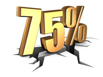 75 percent. Discount sign over white Stock Photography