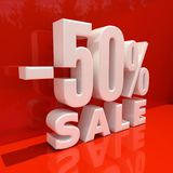 Percent Discount Sign, Sale Up to 50 Stock Image