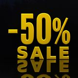 Percent Discount Sign, Sale Up to 50 Stock Photography