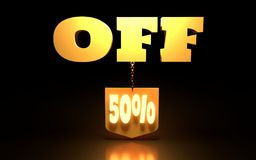 50 Percent Discount Sign. Special Offer Discount Tag. Sale Up to 50 Percent Off. Shield hanging from a chain. 3D rendering Royalty Free Stock Photos