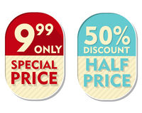 9,99 only, 50 percent discount, special and half price, two elli Royalty Free Stock Images
