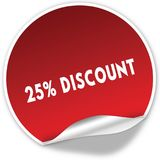 25 PERCENT DISCOUNT text on realistic red sticker on white background. Illustration Royalty Free Stock Image