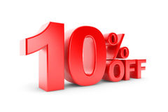 10 percent discount. On a white background Stock Photography