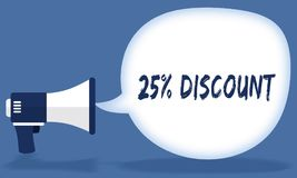 25 PERCENT DISCOUNT writing in speech bubble with megaphone or loudspeaker. Illustration concept Stock Photo