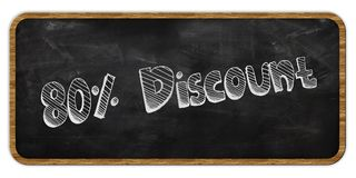 80 PERCENT DISCOUNT written in chalk on blackboard. Wood frame. Illustration Stock Image