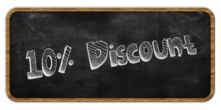 10 PERCENT DISCOUNT written in chalk on blackboard. Wood frame. Illustration Stock Photography