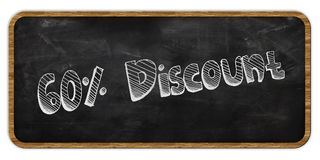 60 PERCENT DISCOUNT written in chalk on blackboard. Wood frame. Illustration Stock Photography