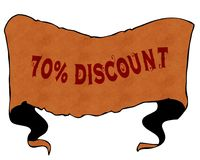 70 PERCENT DISCOUNT written with vintage font on cartoon vintage ribbon. Illustration Stock Photography
