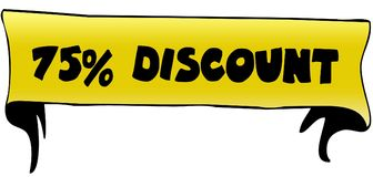75 PERCENT DISCOUNT on yellow ribbon illustration. Graphic concept image royalty free illustration