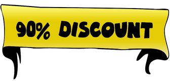 90 PERCENT DISCOUNT on yellow ribbon illustration. Graphic concept image Royalty Free Stock Photography