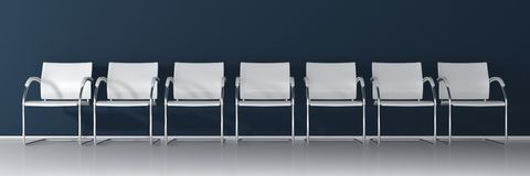 60 percent discountWhite chairs on dark background - wide banner. White chairs on dark background, wide banner vector illustration