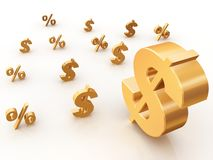 Percent and dollar signs Royalty Free Stock Photo