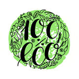 100 percent eco food menu icons. Hand written lettering composition on green isolated on white. Vector illustration. 100 percent eco food menu icons. Hand Stock Photos