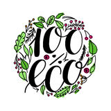 100 percent eco food menu icons. Hand written lettering composition on green isolated on white. Vector illustration. 100 percent eco food menu icons. Hand Vector Illustration