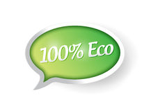 100 percent eco friendly bubble speech post Stock Images