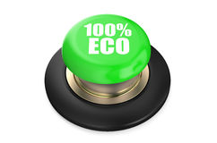100 percent Eco green pushbutton. Isolated on white background Royalty Free Stock Photography