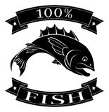 100 percent fish food label. Fish 100 percent label with fish and reading 100 percent fish vector illustration