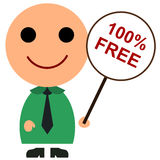 100 percent free. Illustration of a man holding a 100% free sign Stock Photo